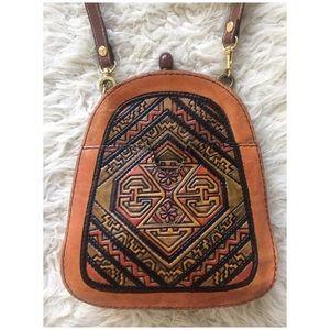 Vintage 60's Tooled Leather Framed Shoulder Bag